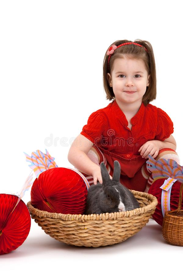 Download Little Girl With Easter Bunny Stock Photo - Image: 12755066