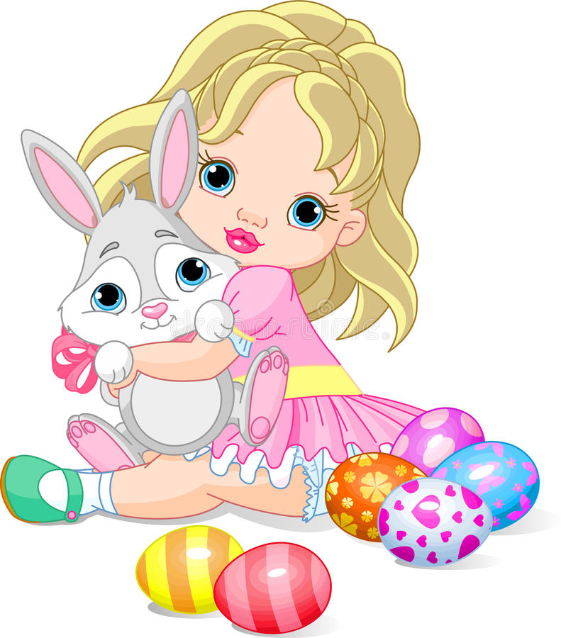 Little girl and Easter bunny stock illustration