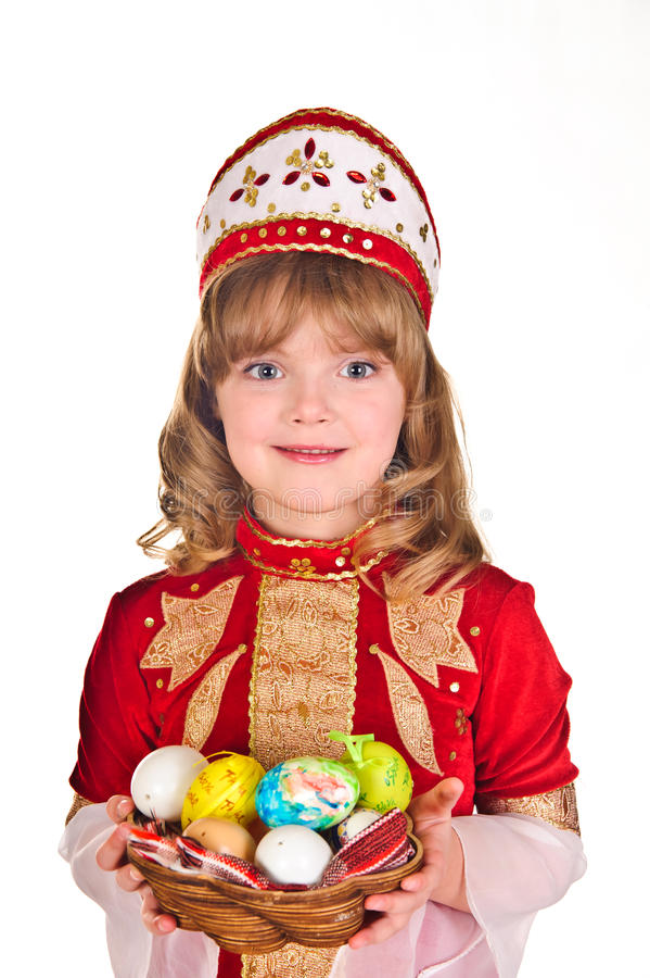 Little Girl with Easter eggs royalty free stock photography