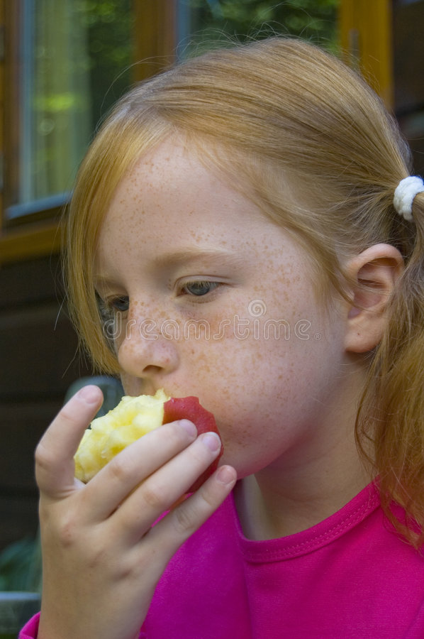 Download Little girl is eating stock image. Image of healthy, vegetable - 5945103