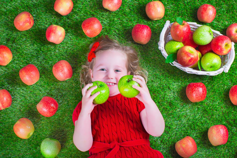 Little girl eating apples. Child eating apple. Little girl playing peek a boo holding fresh ripe apples. Kids eating snack relaxing on a lawn. Children summer stock photography