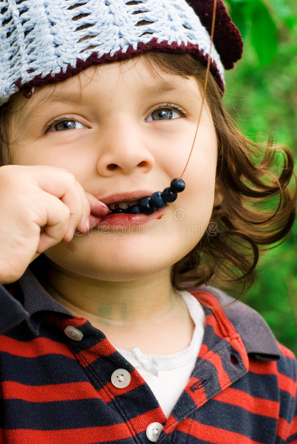Little girl eating blueberries stock photography