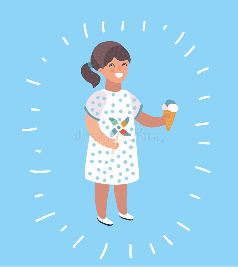 Little girl eating chocolate ice-cream illustration. Vector cartoon illustration of little girl eating ice-cream and hold pinwheel illustration. Modern style vector illustration