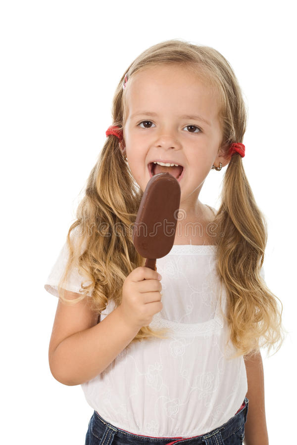 Download Little Girl Eating Icecream Stock Photo - Image of plaits, frozen: 15313430