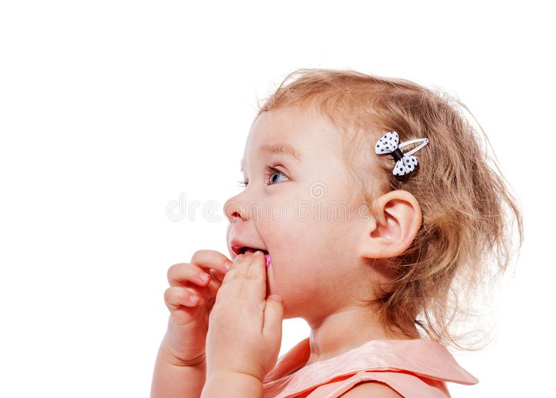 Little girl eats stock images