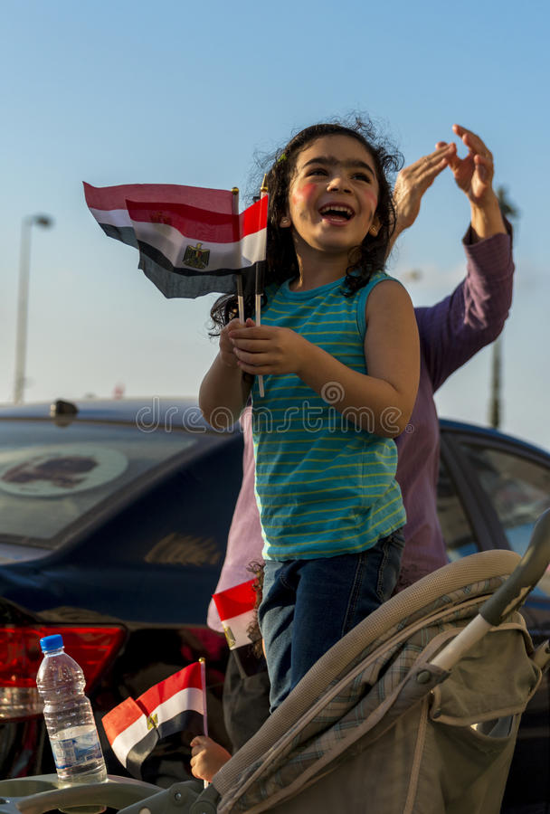 Little Girl with Egyptian Flag royalty free stock photo