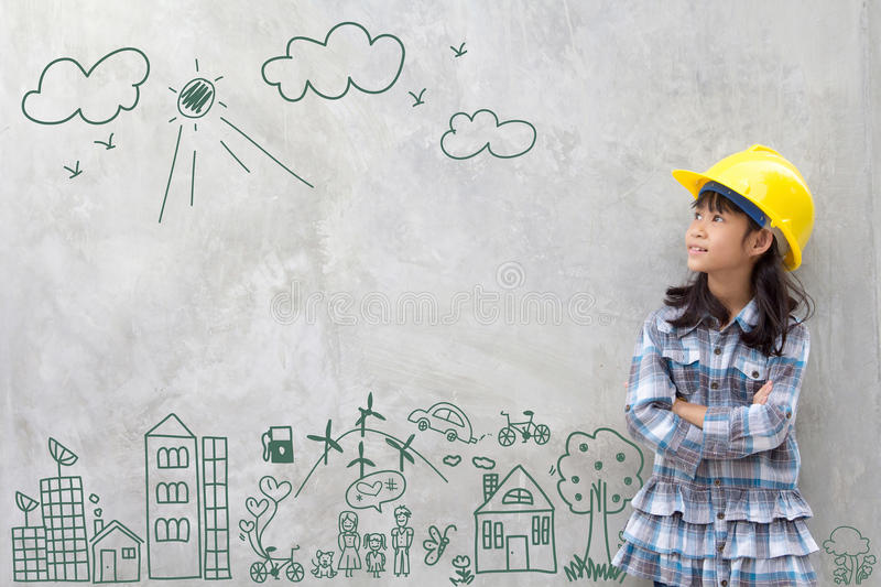 Little girl engineering with creative drawing environment stock image