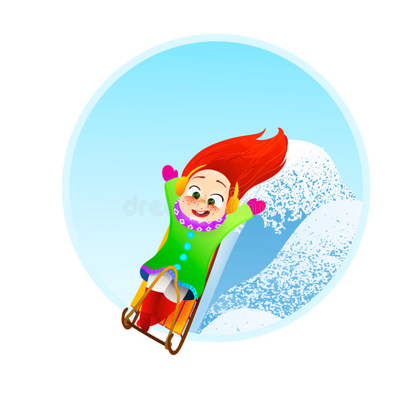 Little girl enjoying a sleigh ride. Child sledding. Toddler kid riding a sledge. Children play outdoors in snow. Kid. Sled in the Alps mountains in winter royalty free illustration