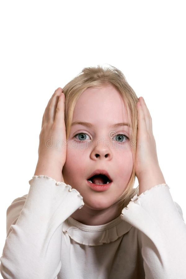 Little girl expressing amazement royalty free stock photos