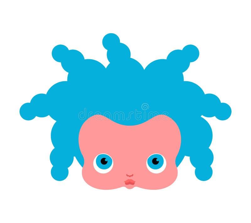 Little girl face. Doll head. Vector illustration.  vector illustration