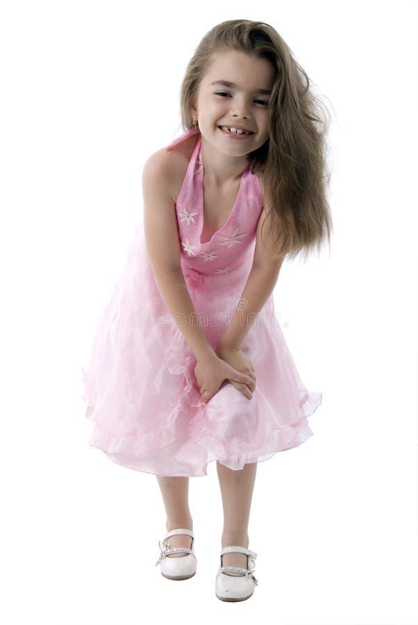 Little Girl Fashion Model. Isolated On White Background royalty free stock photo