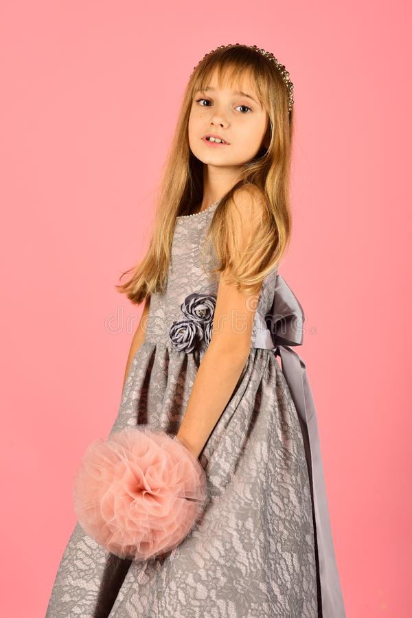 Little girl in fashionable dress, prom. little girl or kid in prom dress. stock photo