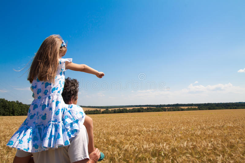Download Little Girl  And Father On The Field Stock Image - Image of caucasian, field: 39511693