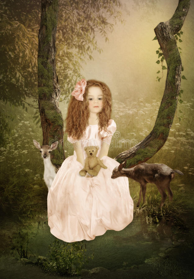 Little girl and Fawns. Sad little girl with long hair, with teddy bear in hand, sitting in a tree above a pond and Fawns stock images