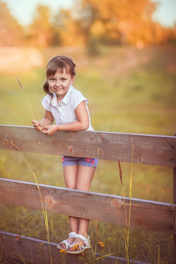 The little girl on the fence royalty free stock photo