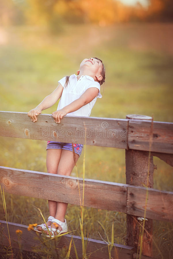The little girl on the fence royalty free stock photography