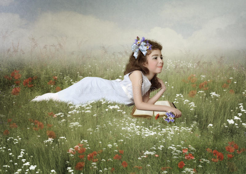Little Girl In The Field Stock Illustration