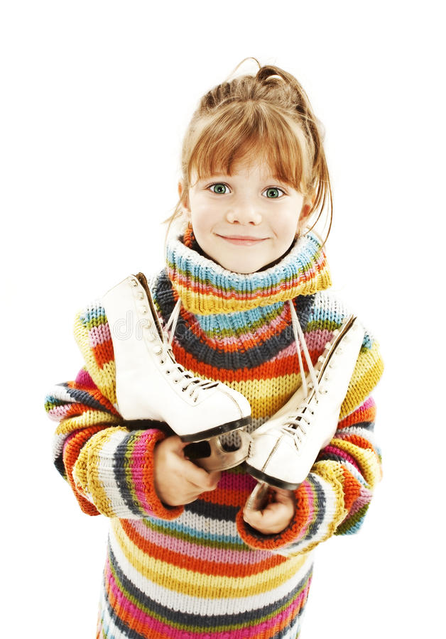 Download Little Girl With Figure Skates Stock Photo - Image: 22148330