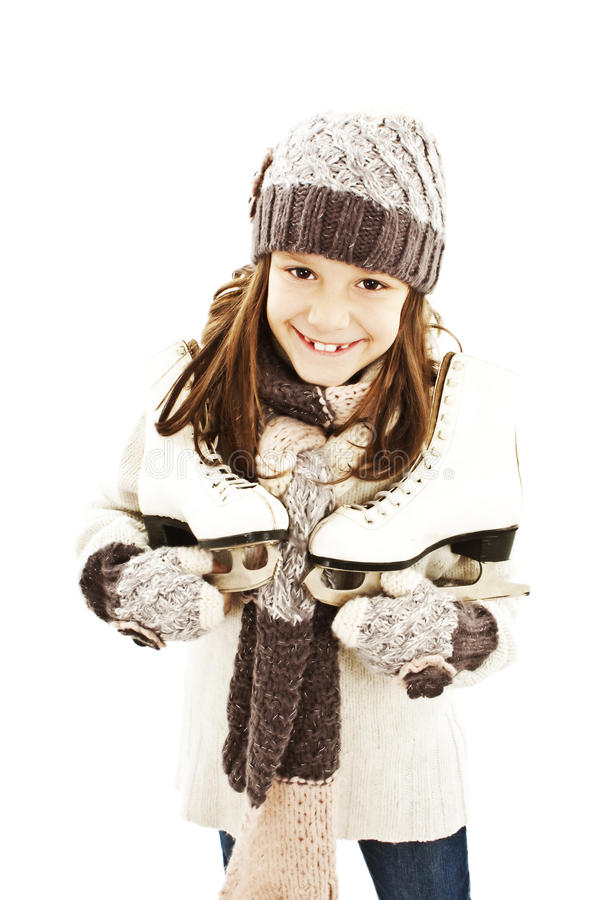Download Little Girl With Figure Skates Royalty Free Stock Photography - Image: 22217417