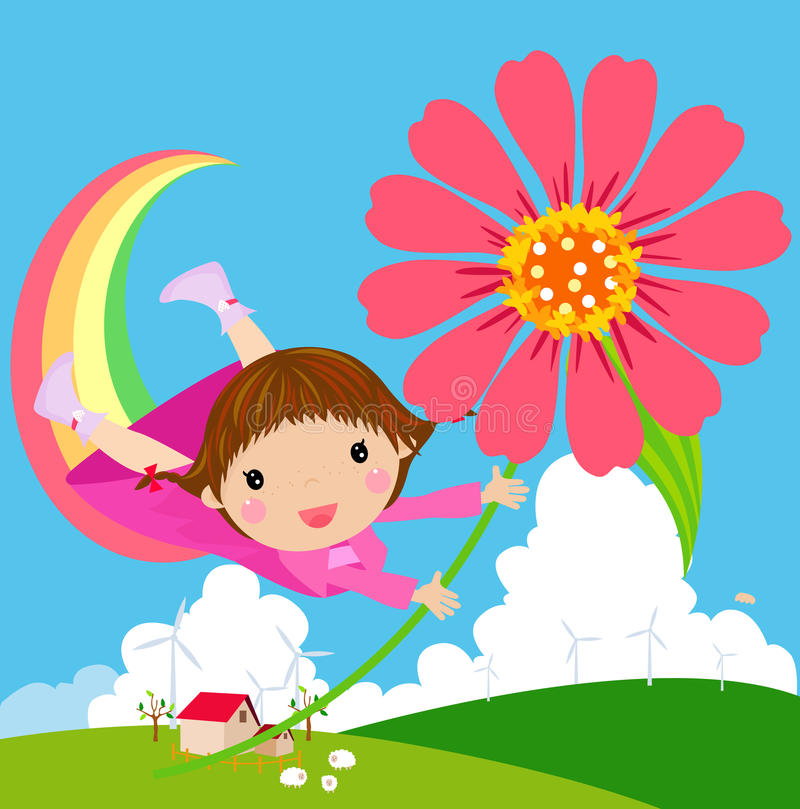 Little girl flies in the sky with flowers royalty free illustration