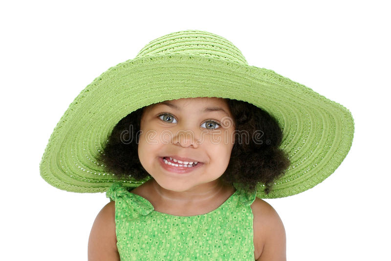 Little girl in floppy hat stock photo