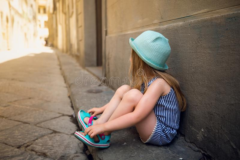 Little girl in Florence stock photography