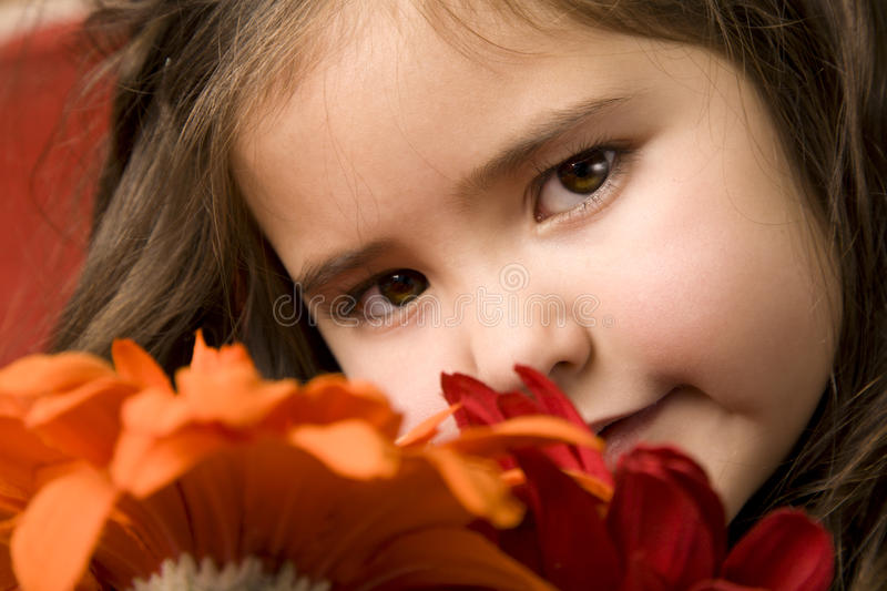 Little girl with flowers stock image