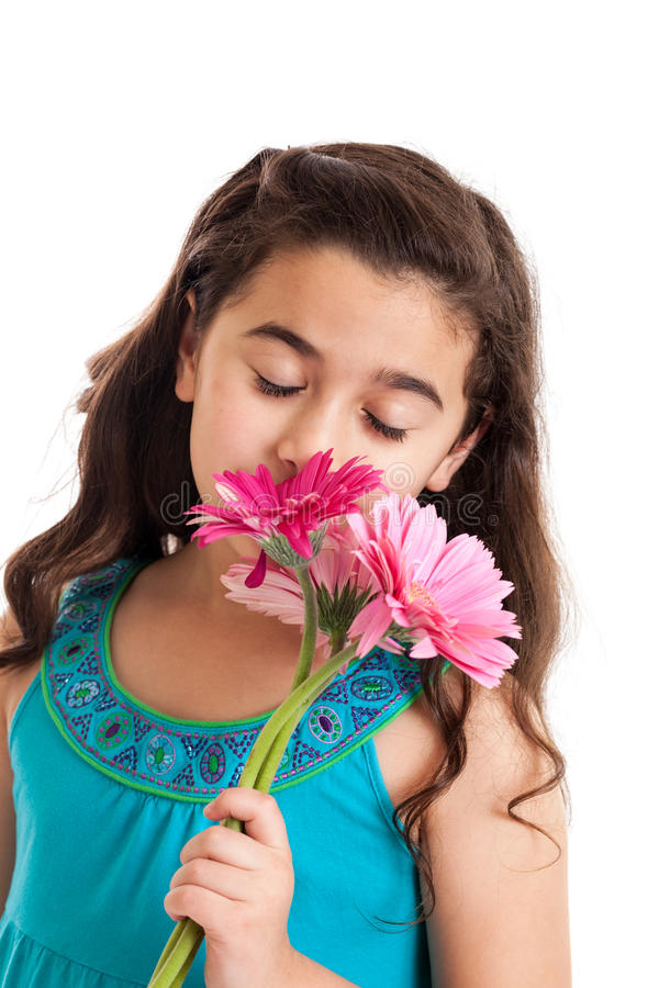 Download Little girl with flowers stock image. Image of happiness - 24738211