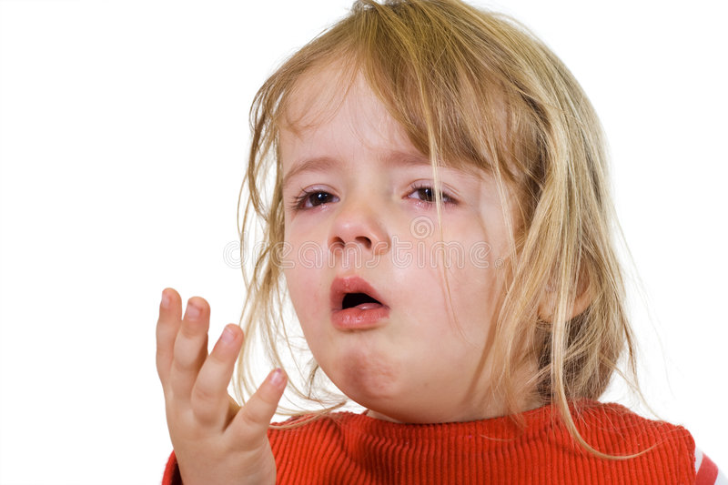 Little girl with the flu royalty free stock photo