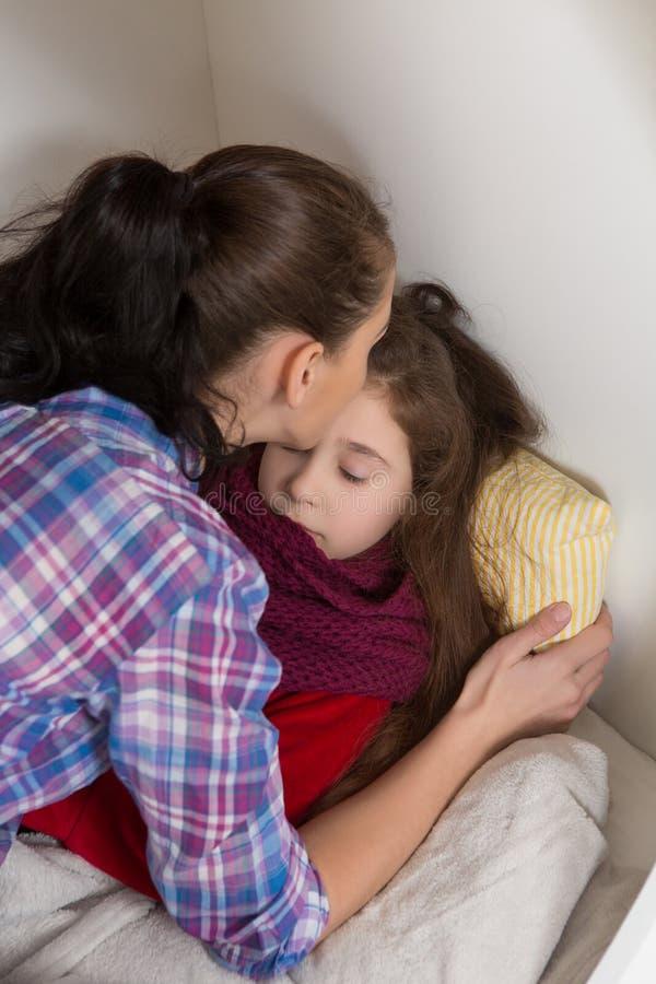 little girl with flu at home stock image image 68665947. Black Bedroom Furniture Sets. Home Design Ideas
