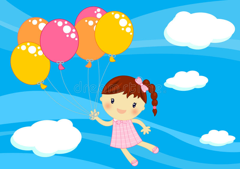 Little girl flying with baloons stock illustration