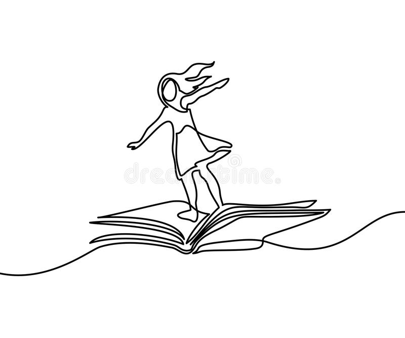 Little girl flying on book in the sky royalty free illustration