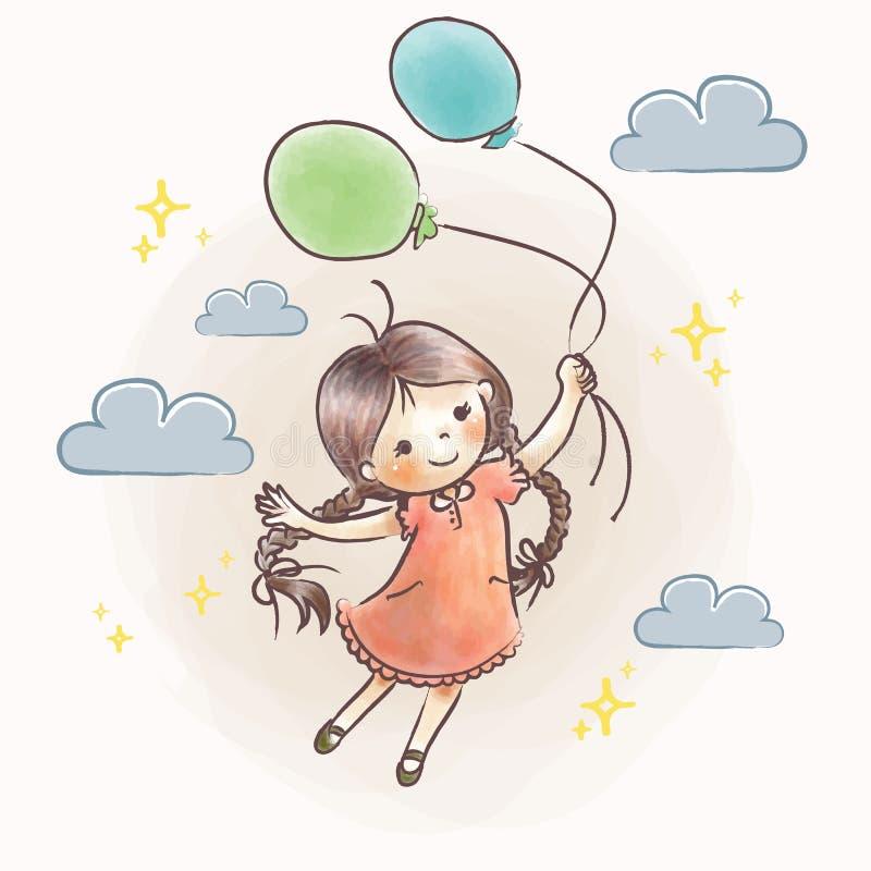 Little girl flying holding balloons vector illustration