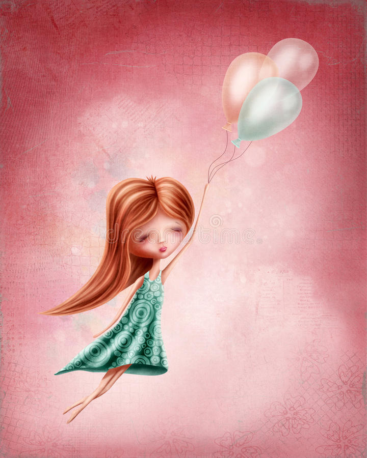 Little girl flying. In the sky stock illustration