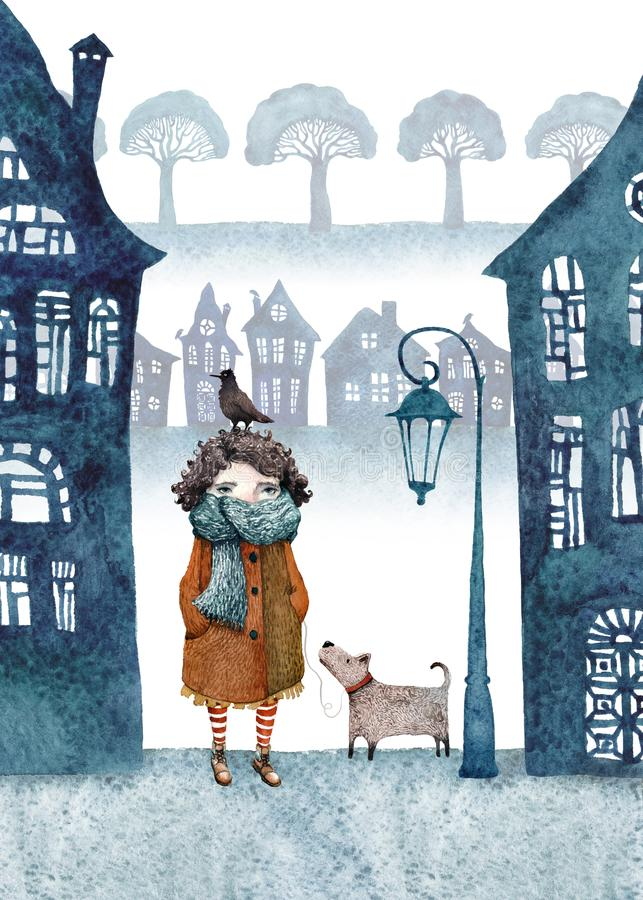 Little girl and her dog walking in a foggy town. Watercolor illustration. Little girl in a foggy town walking with her dog and bird. Paper cut silhouettes of royalty free illustration