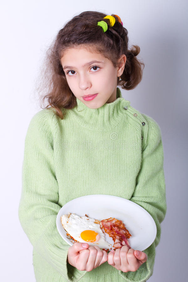 Download Little girl with food stock image. Image of serve, restaurant - 22915371