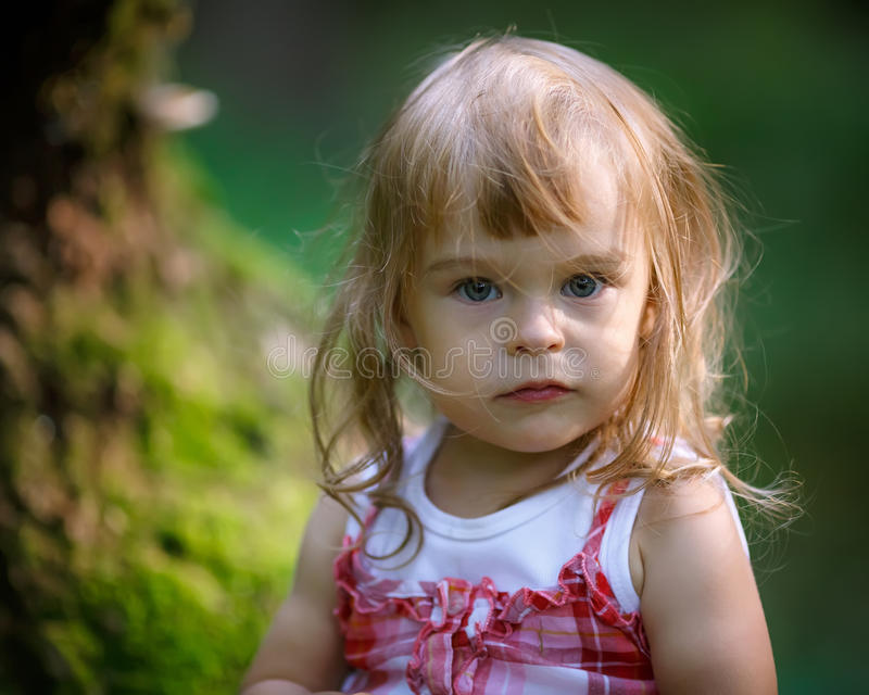 Download Little girl in the forest stock image. Image of girl - 26055445