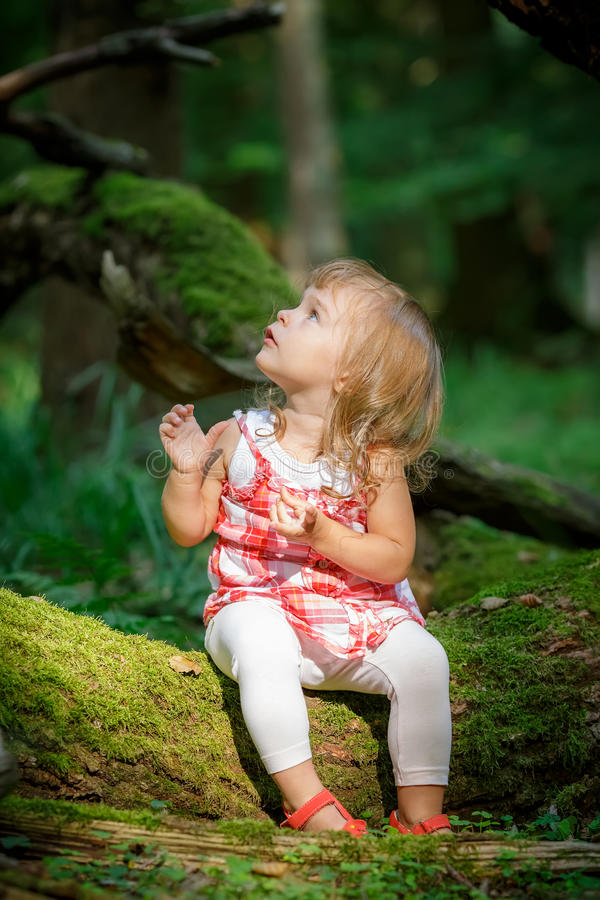 Download Little girl in the forest stock photo. Image of expression - 38418272
