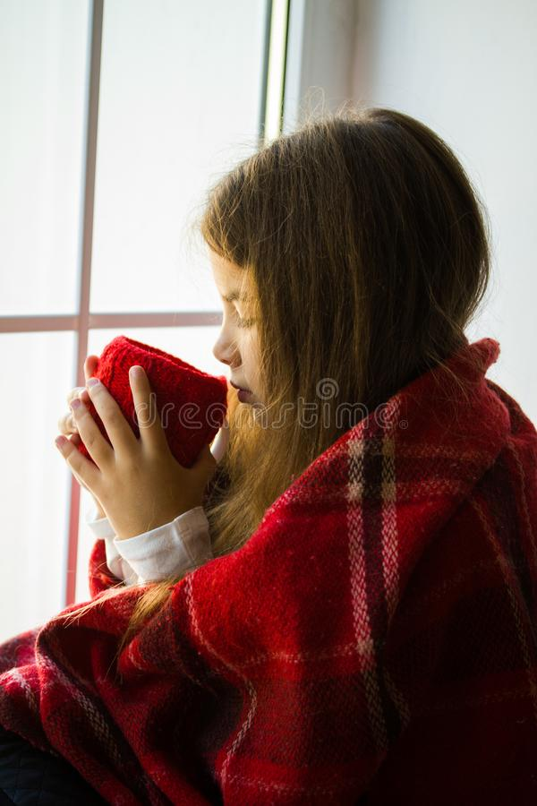 Girl looking window royalty free stock images