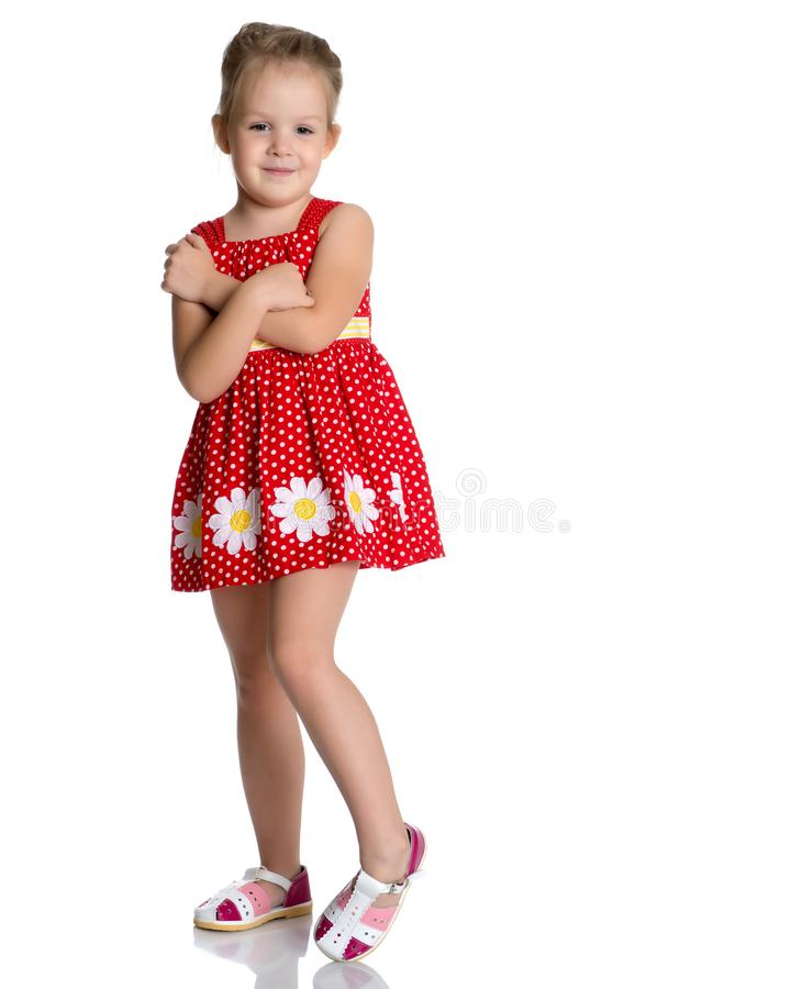 The little girl is full-length. stock image