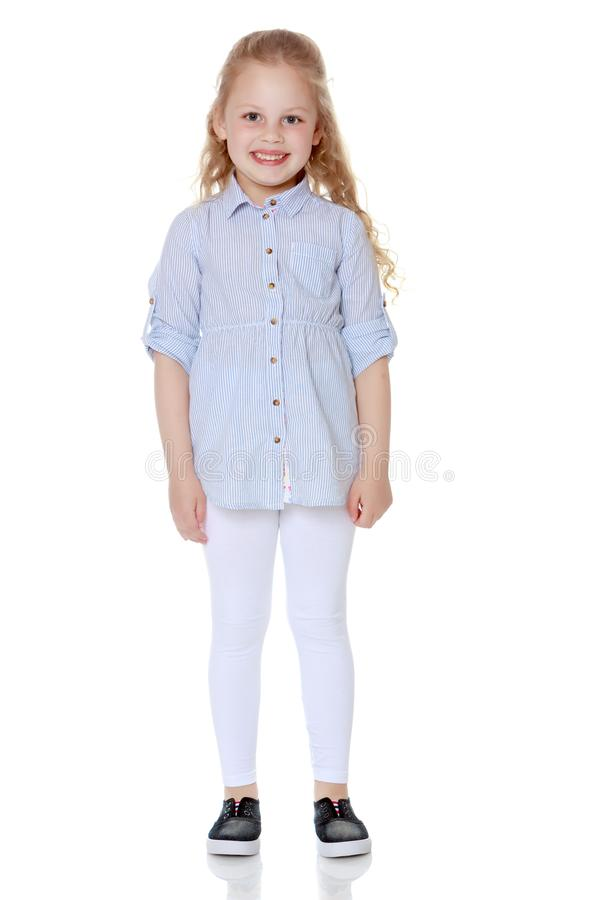 The little girl is full-length. royalty free stock images