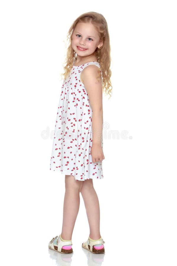 The little girl is full-length. stock photos
