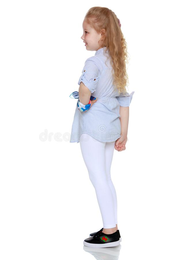 The little girl is full-length. royalty free stock photo