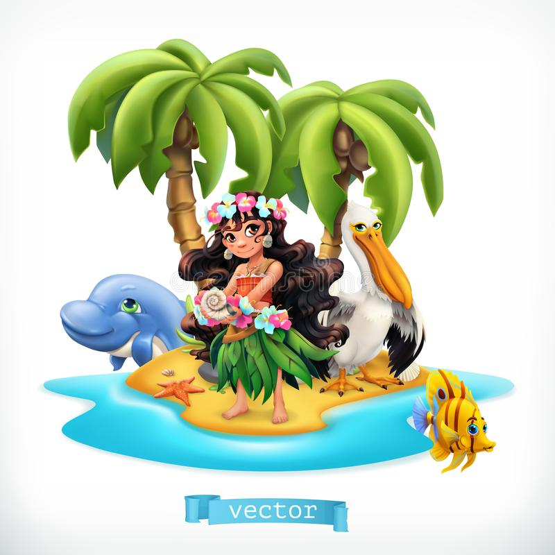 Little girl and funny animals. Tropical island vector icon. Little girl and funny animals. Tropical island 3d vector icon royalty free illustration