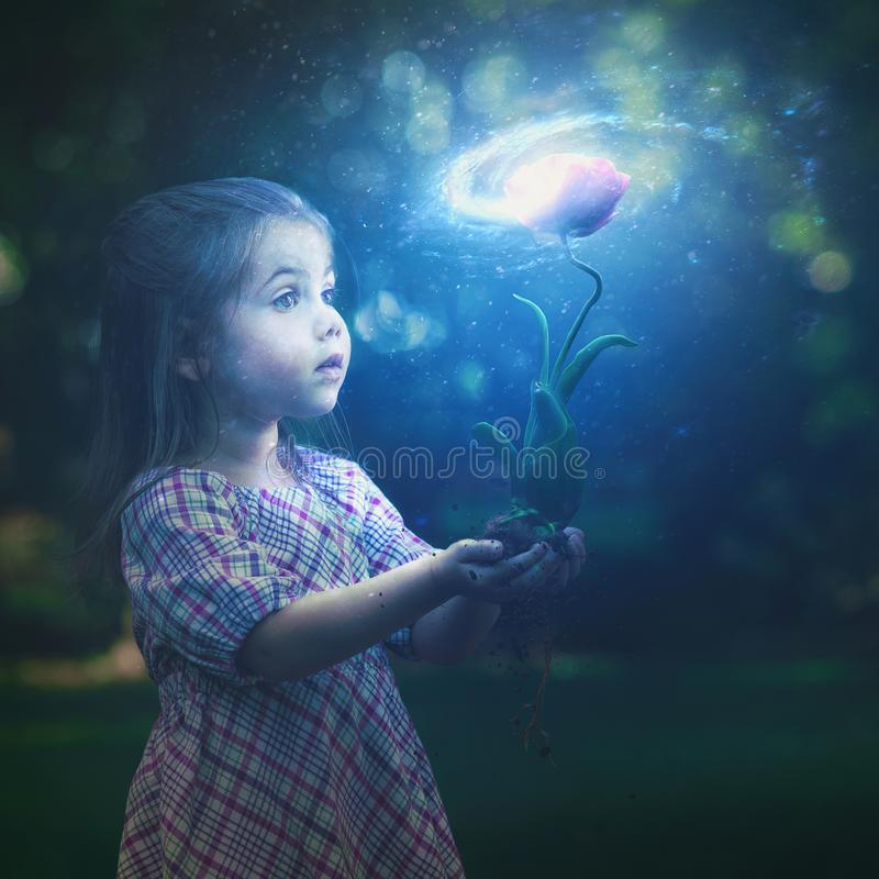 Little girl and galaxy flower. A little girl holds a glowing flower with a bright galaxy royalty free stock image