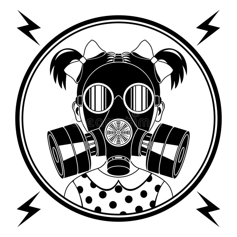 Little girl in a gas mask. royalty free illustration