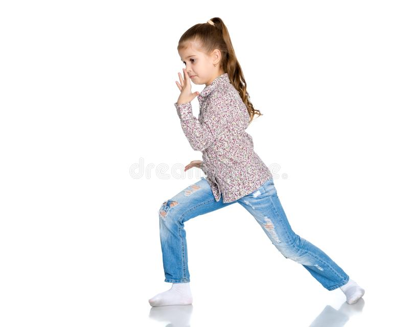 Little girl gesticulating. royalty free stock images