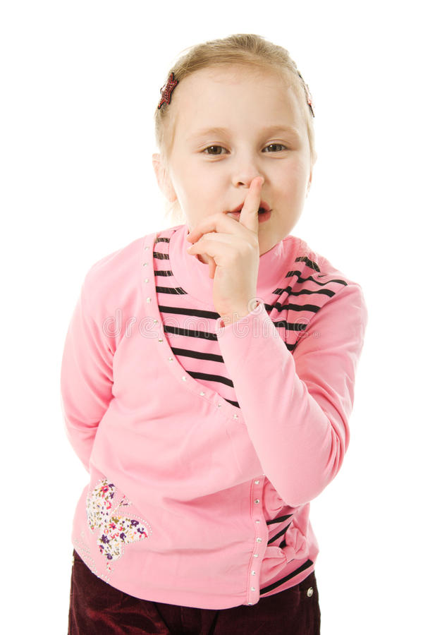 Download Little Girl Gesturing Silence Sign Stock Photo - Image: 25840054