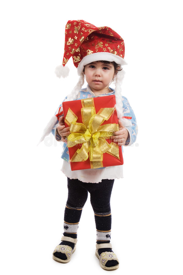 The little girl with a gift stock images