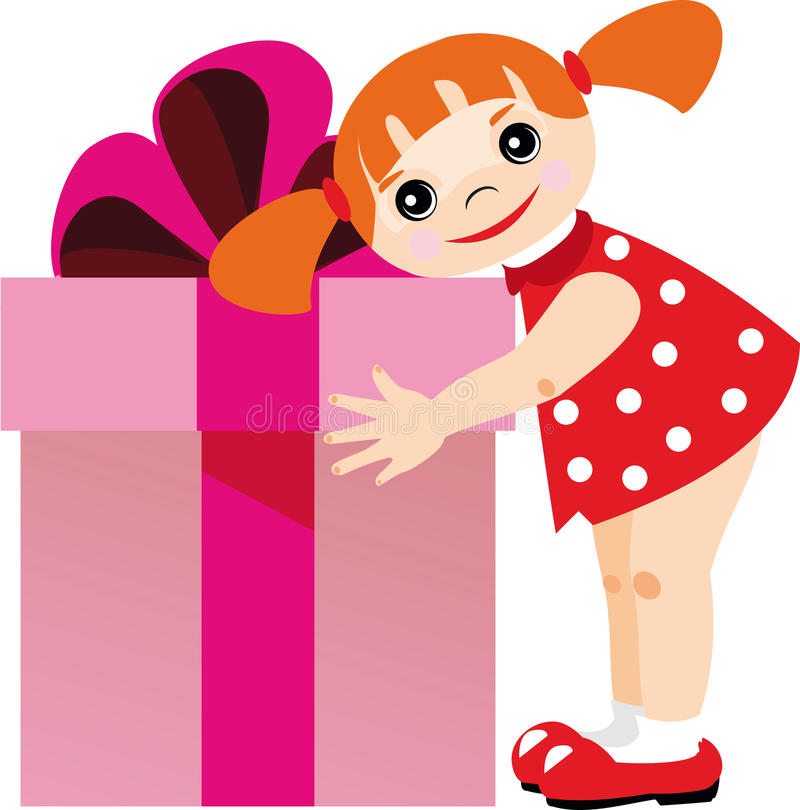 Little girl with a gift vector illustration